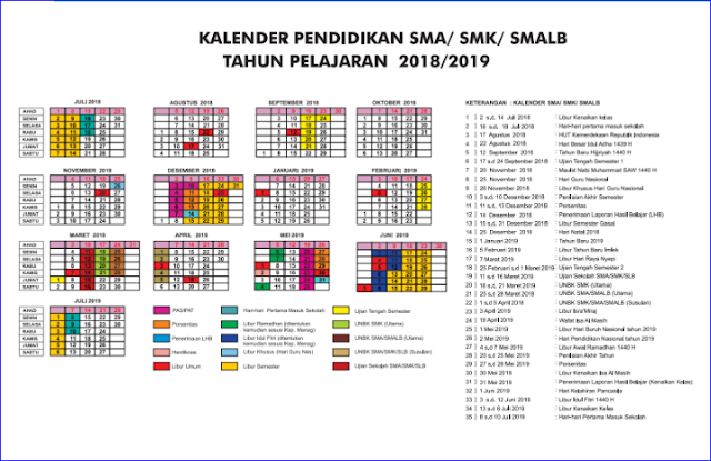 Kalender Pendidikan Daerah Istimewa Yogyakarta (DIY) Tahun Ajaran 2018/2019