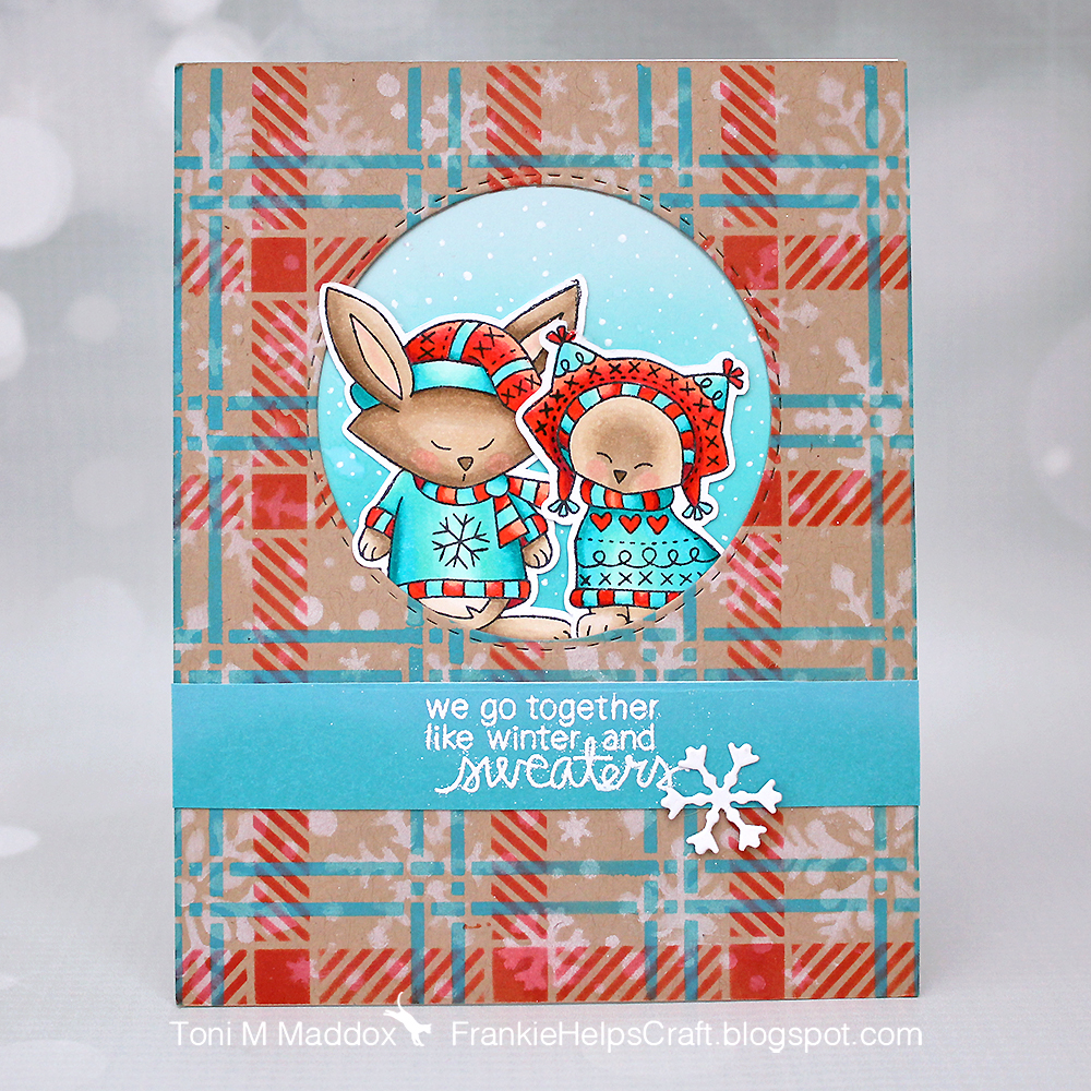 Winter Friends Card by January Guest Designer Toni Maddox | Sweater Weather Stamp Set and Plaid and SnowFall Stencils by Newton's Nook Designs #newtonsnook #handmade