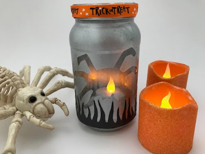 Spider themed lantern craft for Halloween