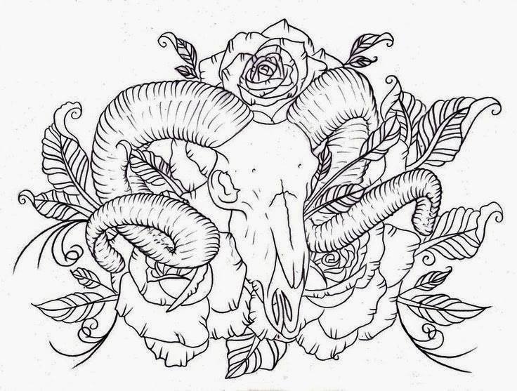 Animal skull male goat with roses tattoo stencil