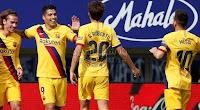 بثلاث اهداف برشلونة يتصدر الدوري الاسباني مؤقت مؤقتاً بفوز خارج ملعبه على فريق ايبار