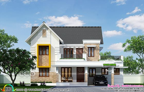 2460 square feet 4 bedroom sloping roof Kerala home
