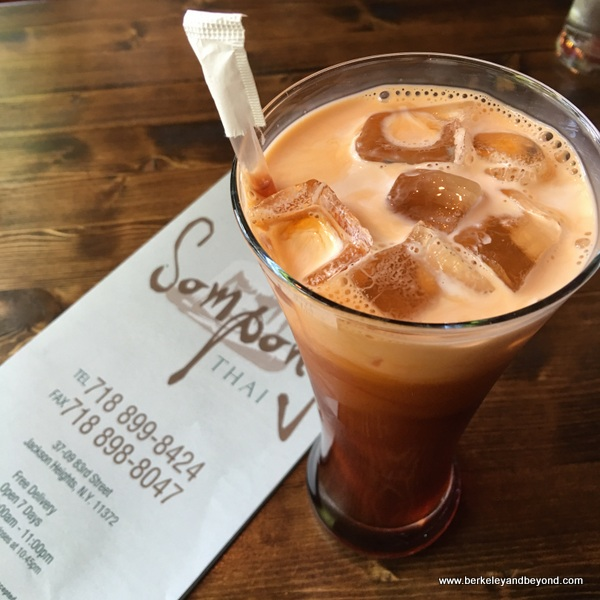 Thai iced tea at Sompong Thai in Jackson Heights, Queens, NYC