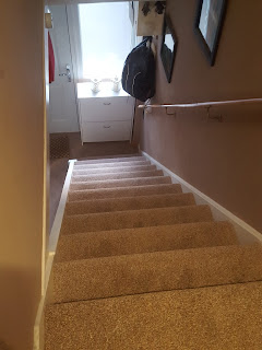 Looking down the stairs with my new carpet