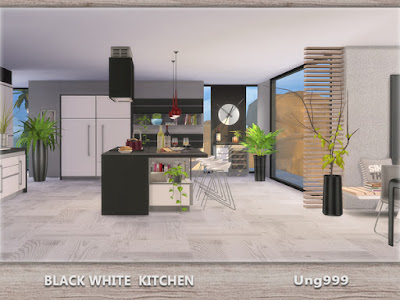My sims 4 blog ung999 s black white kitchen