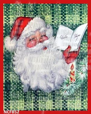 green plaid vintage santa claus fabric