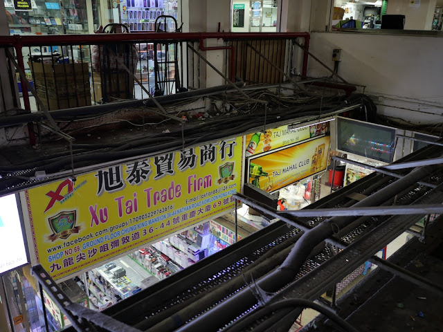 Looking down at the ground floor of the Chungking Mansions