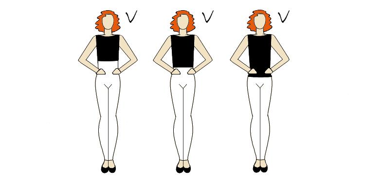 podkreślenie talii odpowiednim stanem spodni