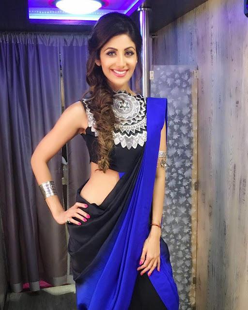 Shilpa Shetty looks super cute in Saree by Roshni Chopra and jewellery by Amrapali Jewels