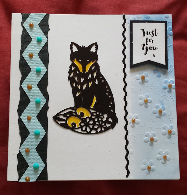 "Just for you - Fox theme - 6"" square card"