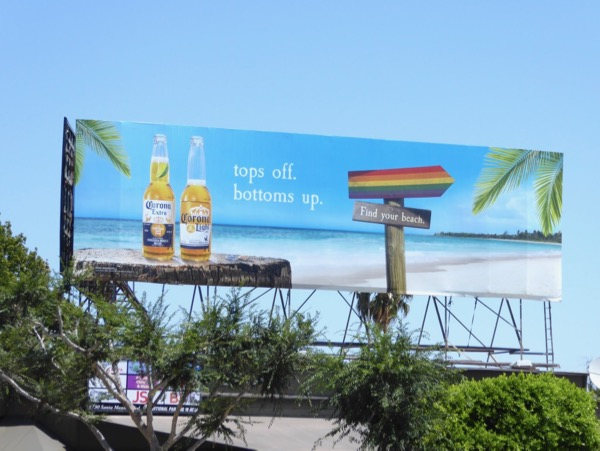 Corona Tops off Bottoms up LGBT Pride billboard