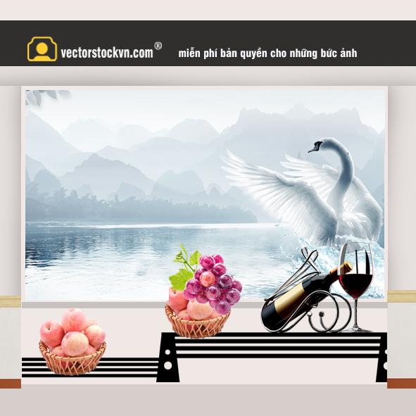 Phong cảnh thiên nga màu trắng trên hồ nước