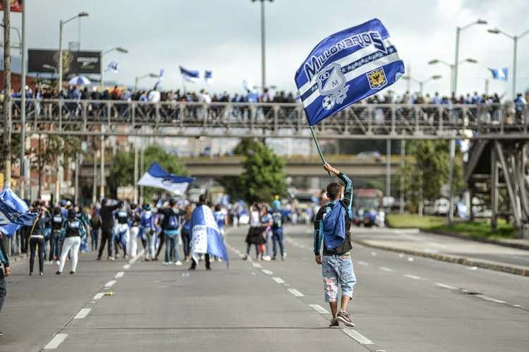 Millonarios fans 'celebrate' the club's birthday.