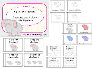 http://www.teacherspayteachers.com/Product/Ee-Letter-of-the-Week-Readers-E-e-is-for-Elephant-1011655