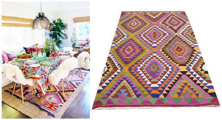 Colores vivos y llamativos y alfombra Kilim en la decoración del comedor