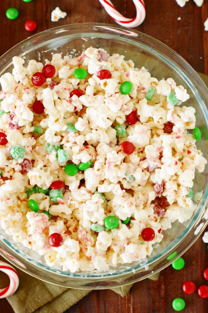 Bowl of Christmas White Chocolate-Peppermint Popcorn Image