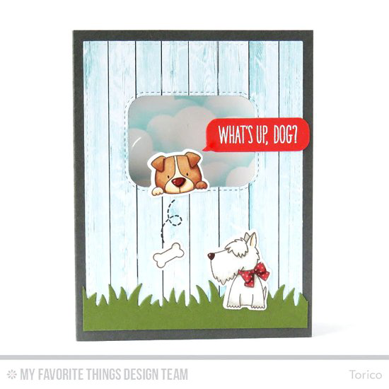 Handmade card from Torico featuring Birdie Brown Lucky Dog stamp set and Die-namics, Inside & Out Stitched Rounded Rectangle STAX, Grassy Fields, Smart Phone, and Stitched Cloud Edges Die-namics #mftstamps