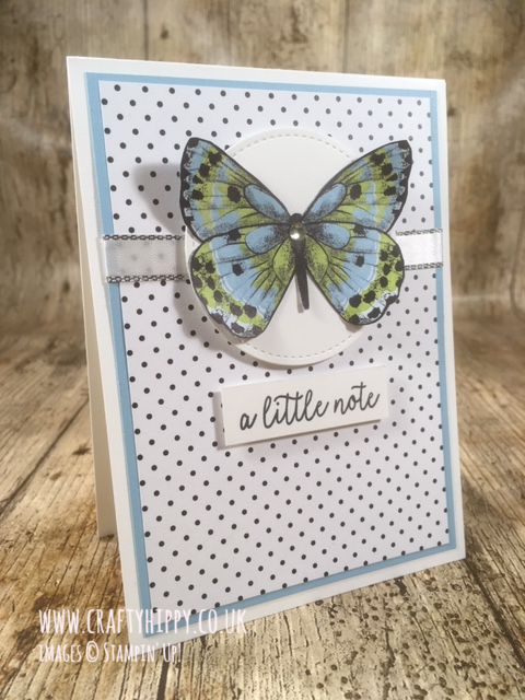 Handmade polka dot butterfly card created with the Botanical Butterfly Designer Series Paper by Stampin' Up!