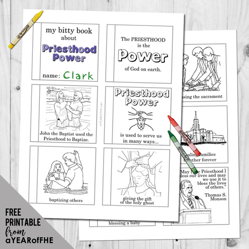 A Year of FHE // Free rintable of a mini book with coloring pages all about PRIESTHOOD POWER.  #lds #freebie