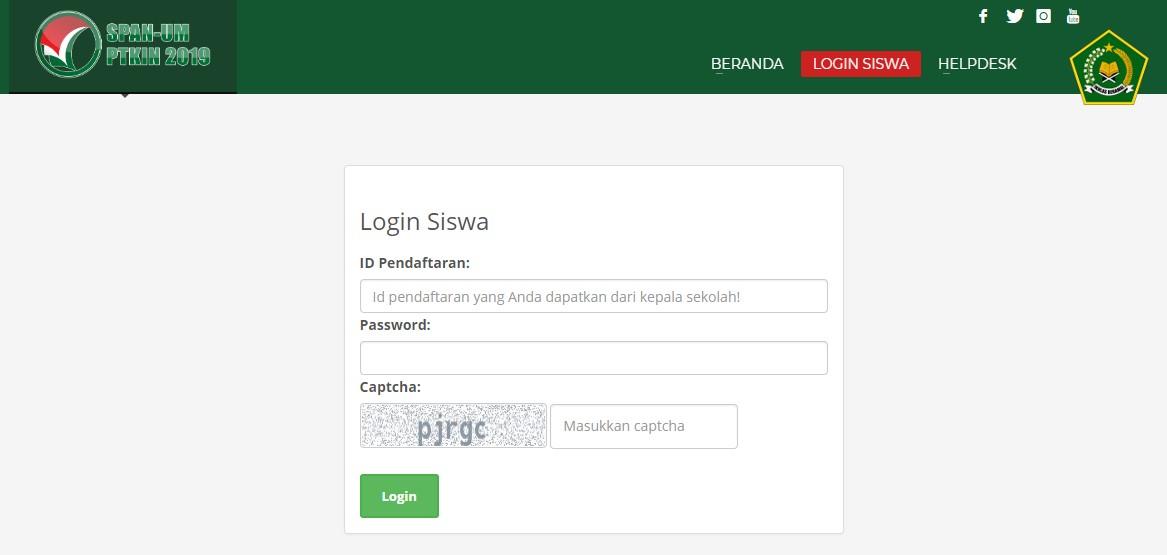 username password login span ptkin cara mendapatkan id pendaftaran span-ptkin 2019 login siswa span-ptkin 2019 daftar jurusan span