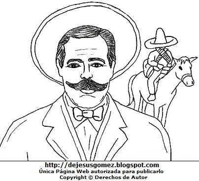 Dibujo de Pancho Villa para dibujar pintar imprimir. Imagen de Pancho Villa de Jesus Gómez