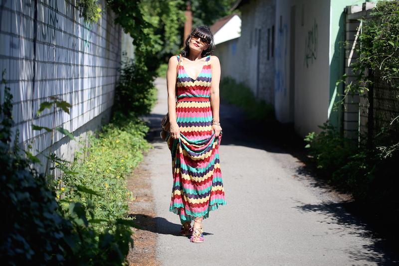 langes buntes Maxikleid von Zara
