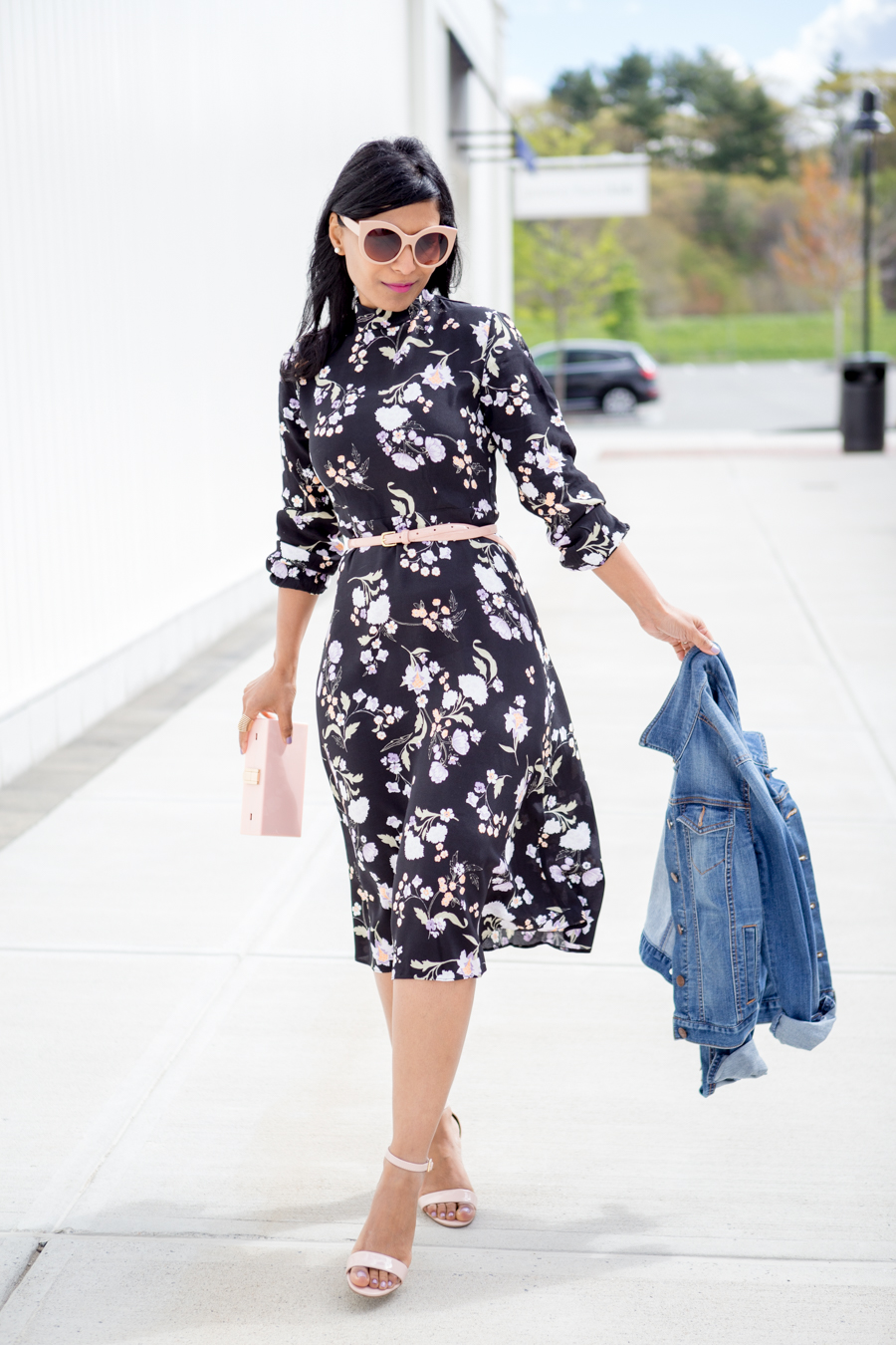 floral print, midi dress, feminine style, pink accessories, blush pink, petite fashion, spring style, spring outfit, dressy outfit, casual outfit, asos petite, loft, natasha couture, bp shoes, nordstrom, petite blogger, boston blogger