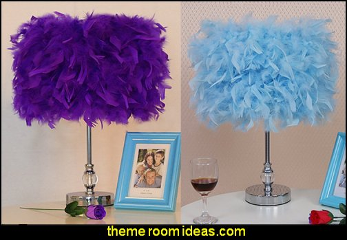 feathery table lamps  faux fur home decor - fuzzy furry decorations - Flokati - mink - plush - shaggy - faux flokati upholstery - super soft plush bedding - sheepskin - Mongolian lamb faux fur - Faux Fur Throw - faux fur bedding - faux fur blankets - faux fur pillows - faux fur decorating ideas - faux fur bedroom decor - fur decorations - fluffy bedding - feathery lamps