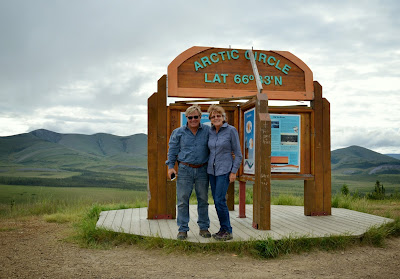 Anders and Liz at the Arctic Circle Yukon Territory