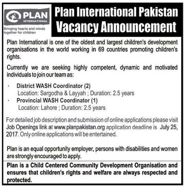 Jobs in Plan International Pakistan Lahore 16th July 2017.
