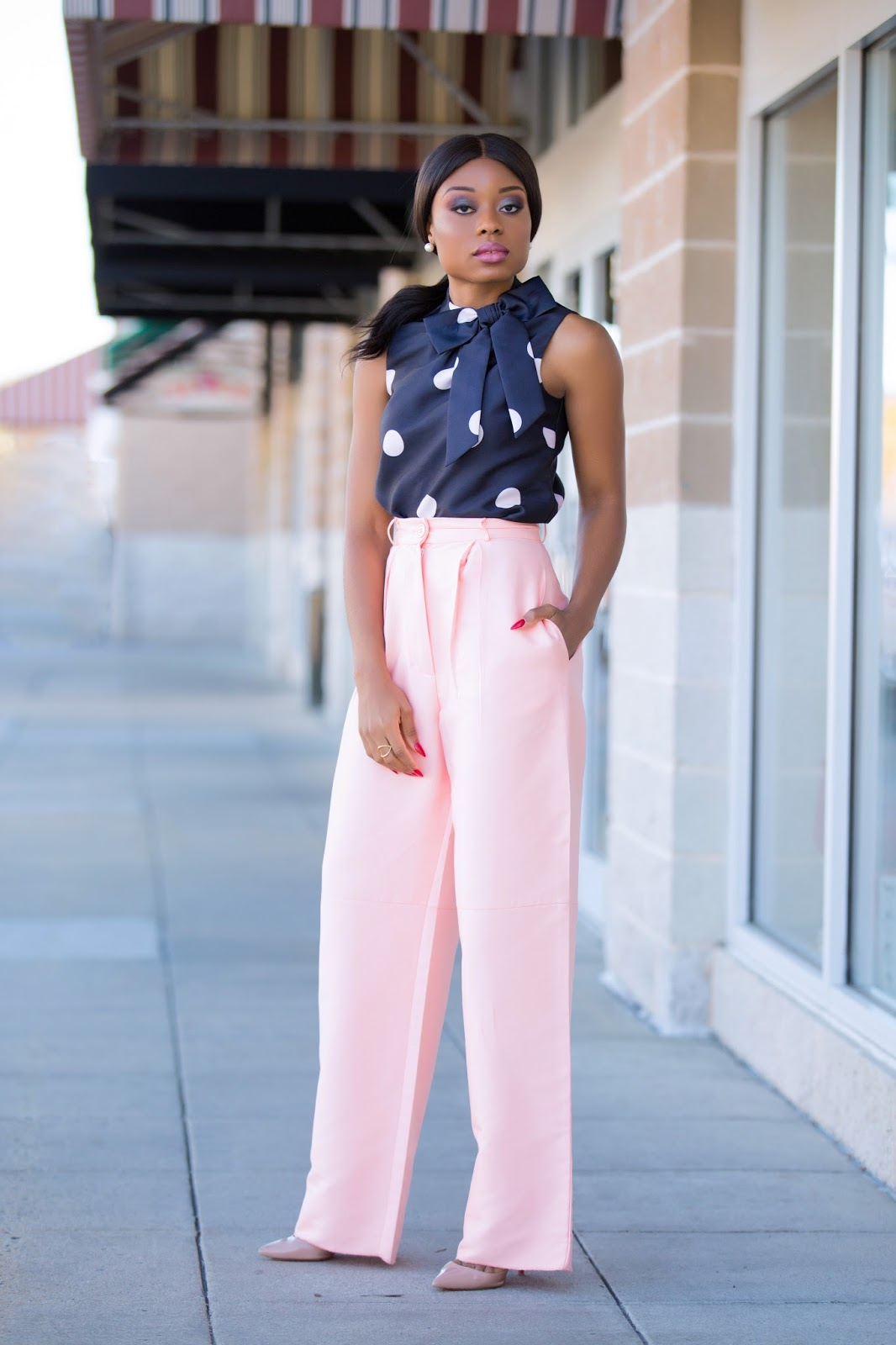 Blush tones and polka dot, www.jadore-fashion.com