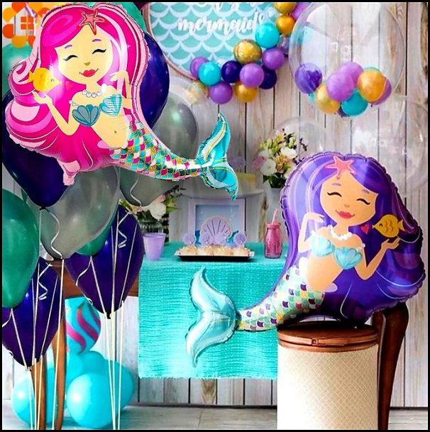 MERMAID Balloons   mermaid party decorations - mermaid party ideas - mermaid themed birthday party - ocean theme party decorations - under the sea party - little mermaid birthday party ideas - beach party - water theme parties - mermaid table decor - party props  under the sea birthday party - mermaid balloons - mermaid jewels party favors