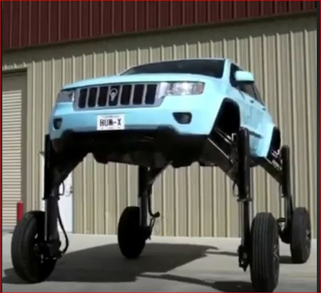 Jeep Car with CGI tires,flies over traffic