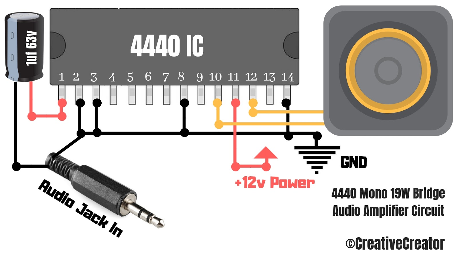 How to make a powerful audio amplifier with 4440 IC? - RevealNew