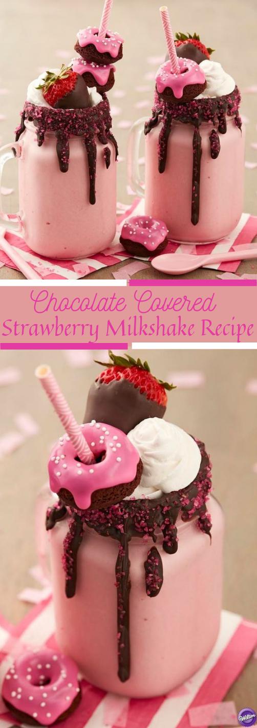 CHOCOLATE COVERED STRAWBERRY MILKSHAKES #milkshake ##icedrink
