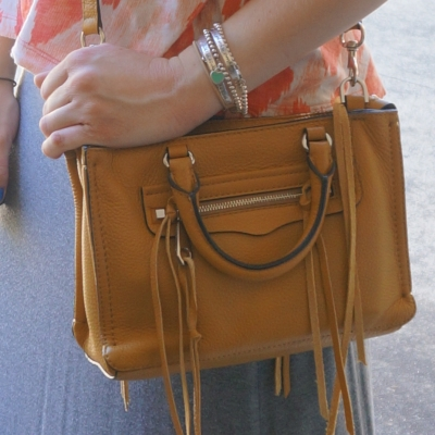 grey marle skirt, Rebecca Minkoff micro Regan satchel in Harvest Gold | Away From The Blue