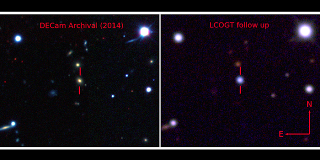 The yellow-orange host galaxy (left) before the supernova, and afterwards (right) when the ASASSN-15lh supernova's blue light outshines its host galaxy (Credit: The Dark Energy Survey / Benjamin Shappee of the Carnegie Institution for Science / ASAS-SN team)