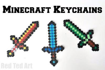 Minecraft Hama bead sword keychains