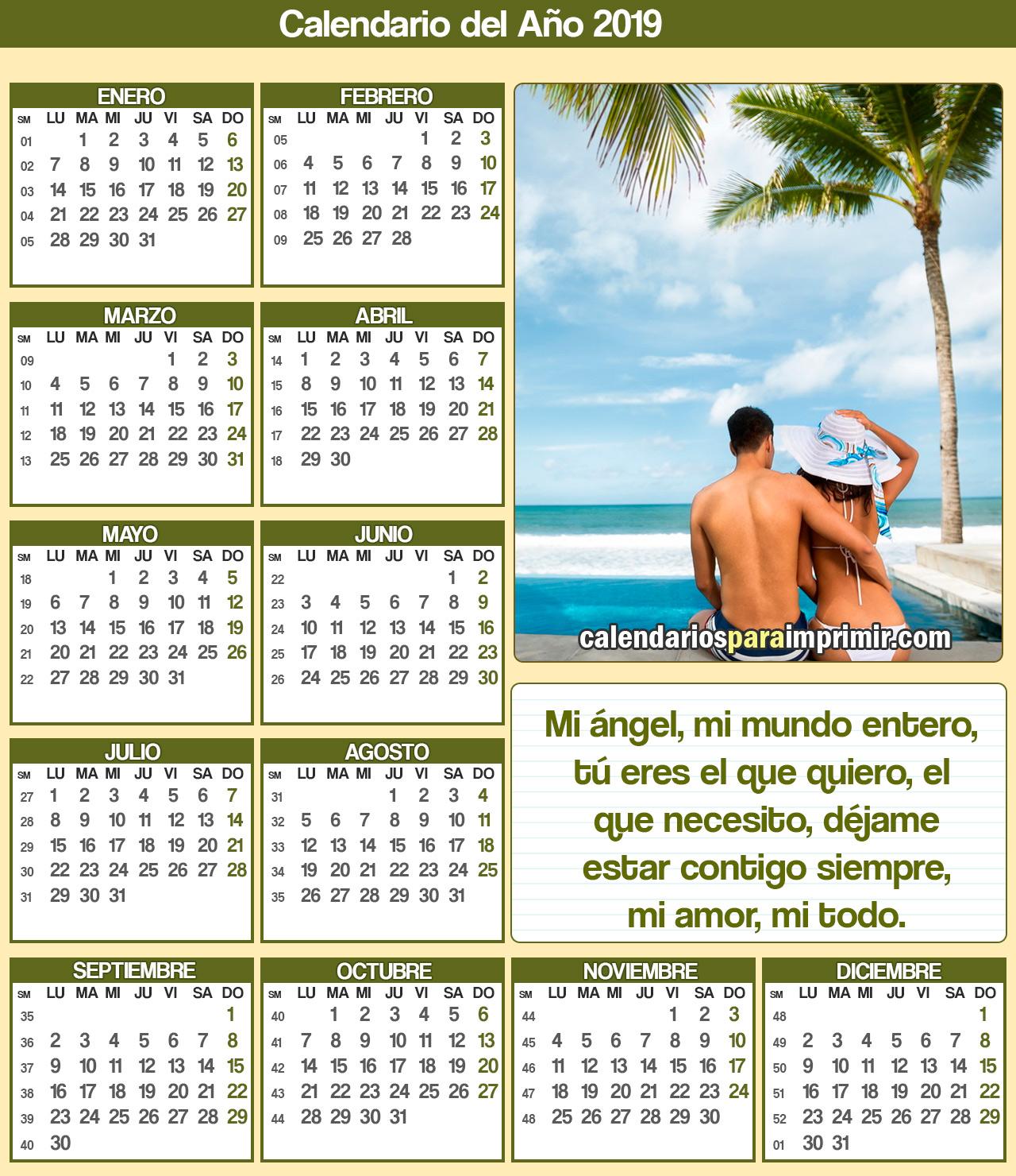 calendario para imprimir 2019 romanticos
