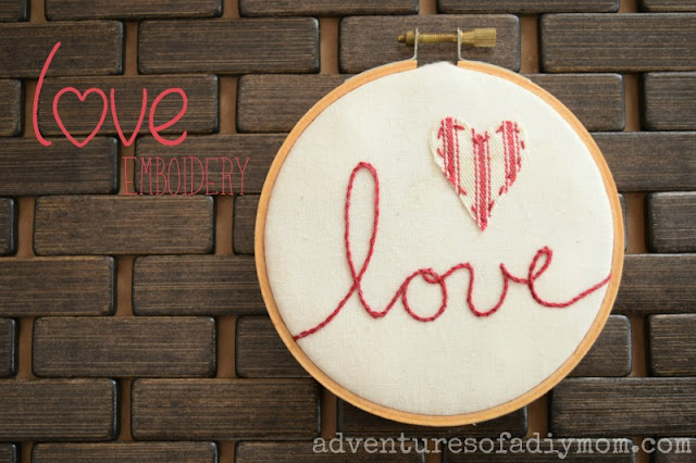 embroidery hoop love art using stem stitch