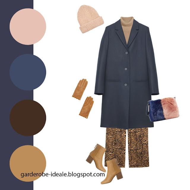 Сочетание темно-синего базового пальто с леопардовыми брюками и меховой розовой сумкой