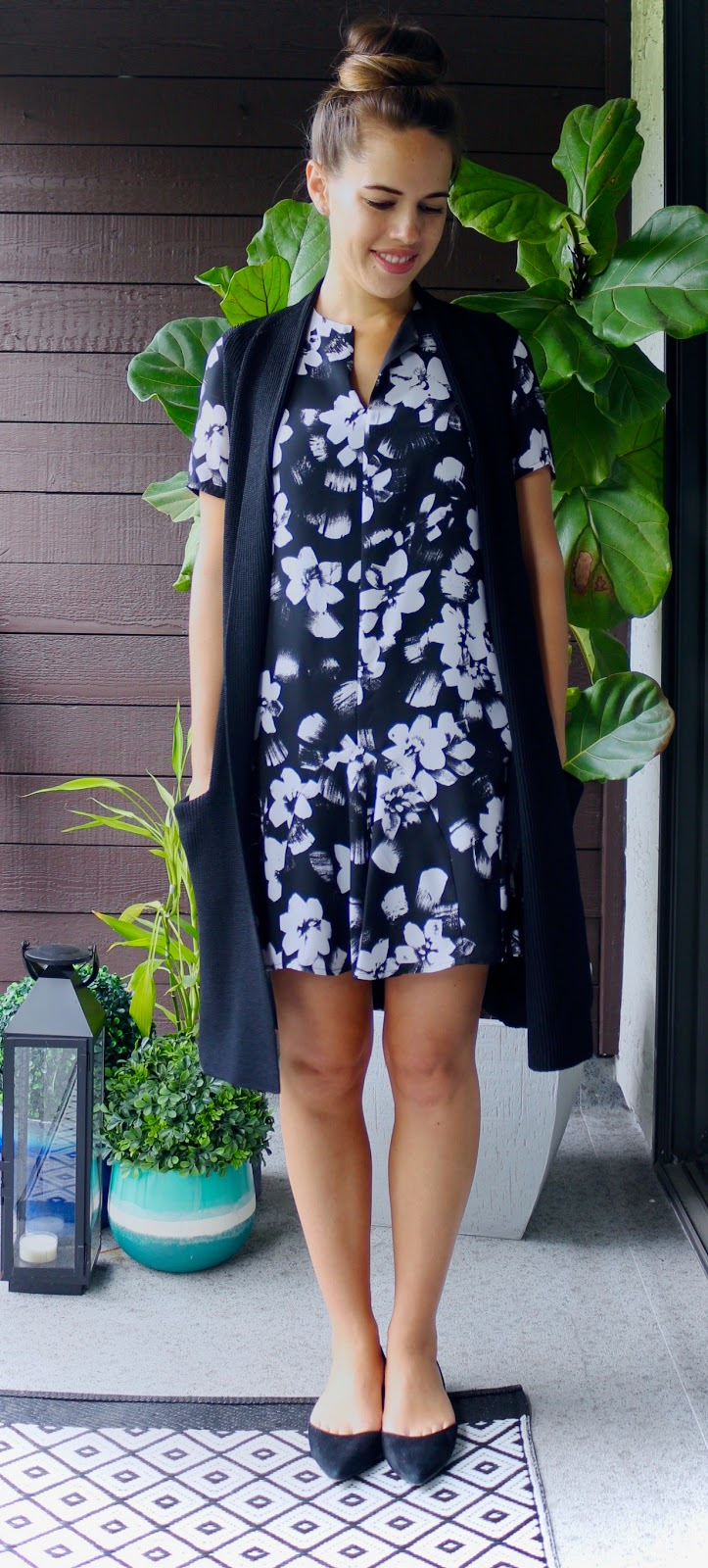 Jules in Flats - Black and White Floral Dress with Sweater Vest