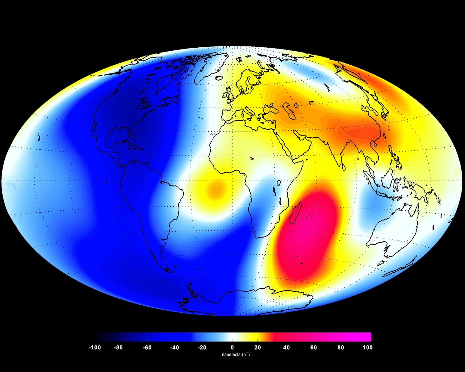 Changes in Earth's magnetic field from January to June 2014 as measured by the Swarm constellation of satellites. These changes are based on the magnetic signals that stem from Earth's core. Shades of red represent areas of strengthening, while blues show areas of weakening over the 6-month period. Credit: ESA/DTU Space
