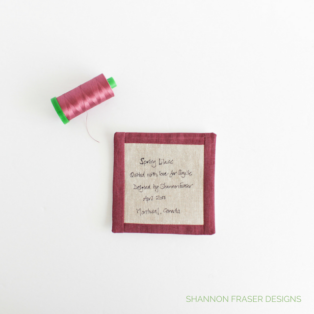 Handmade Quilt Label | Shannon Fraser Designs | Modern Quilting | Aurifil Thread 40wt | Essex Linen | Shot Cotton | Design details