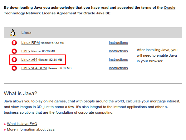 Java JRE Download page for Linux