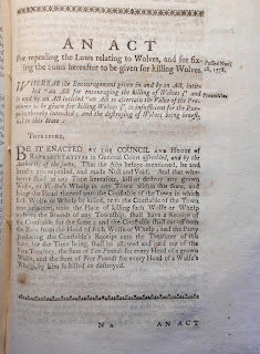 "A printed page on ""An act for repealing the laws relating to Wolves."""