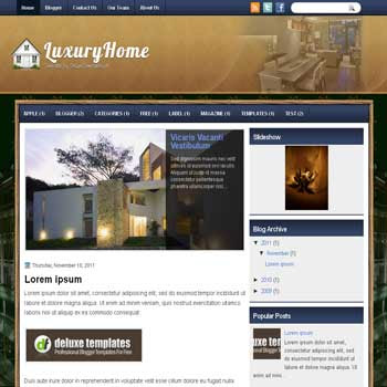 LuxuryHome blogger template. template blogspot magazine style. real estate blogger template