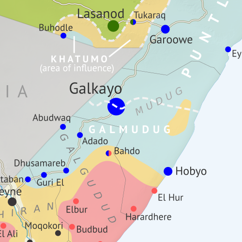 Who controls Somalia? Map (2018). With states, regions, and territorial control. Best Somalia control map online, thoroughly researched and detailed but concise. Shows territorial control by Federal Government of Somalia (FGS), Al Shabaab, so-called Islamic State (ISIS/ISIL), separatist Somaliland, and autonomous states Puntland, Galmudug, and Khatumo (the ASWJ Sufi militia has merged with Galmudug state). Updated to June 2, 2018. Colorblind accessible.