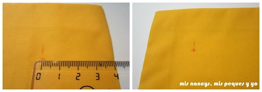 mis nancys, mis peques y yo, tutorial DIY funda de cojín sencilla con cremallera y volante, marcar puntos a 4 cm