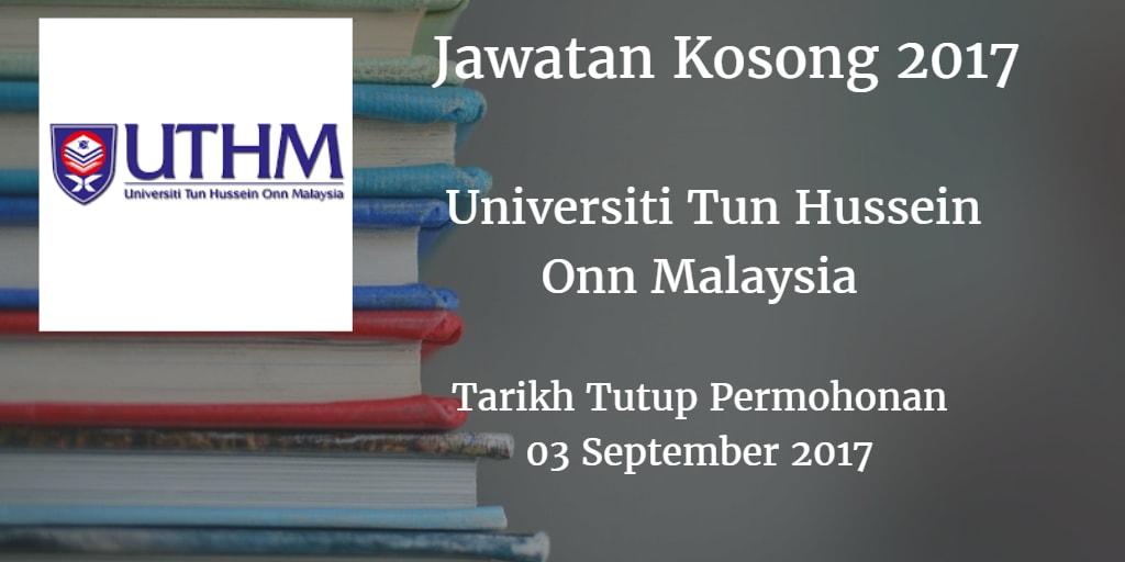 Jawatan Kosong UTHM 03 September 2017